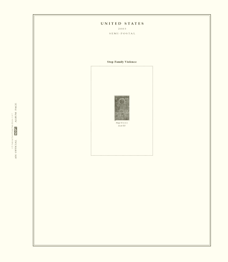 Scott National Series Album Pages: U.S. Semi-Postal Plate Blocks (1998-2019) (7 pages)