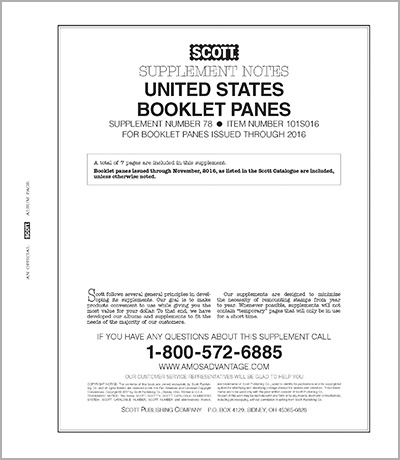 UNITED STATES BOOKLET PANES 2016 (8 PAGES) #78