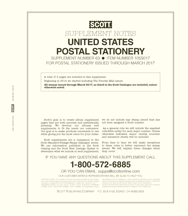 Scott US Postal Stationery 2017 #63