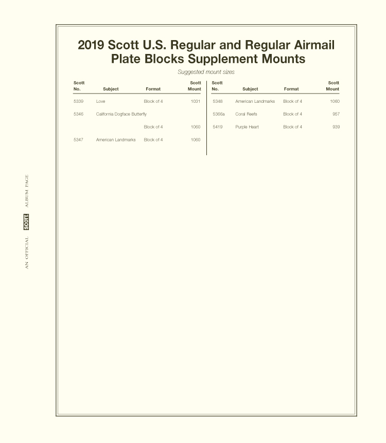 Scott US Regular Plate Blocks 2019 #38
