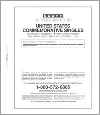 UNITED STATES COMMEMORATIVE SINGLES 2001 (12 PAGES) #31