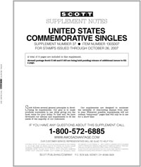 UNITED STATES COMMEMORATIVE SINGLES 2007 (10 PAGES) #37