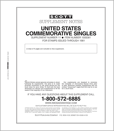 UNITED STATES COMMEMORATIVE SINGLES 1981 #11 (7 PAGES)