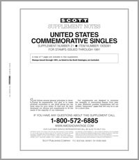 UNITED STATES COMMEMORATIVE SINGLES 1991 #21 (8 PAGES)