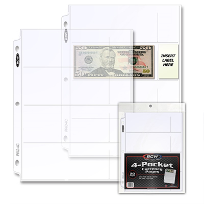 BCW 4-POCKET 2.5 X 6.25 CURRENCY PAGE (PACKS OF 20)