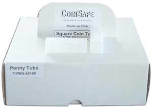 COINSAFE SQUARE COIN TUBE: CENT (19MM)(HOLDS 50 COINS) BOX OF 100