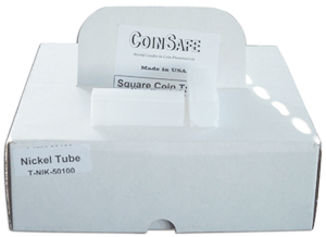 COINSAFE SQUARE COIN TUBE: NICKEL (21MM)(HOLDS 40 COINS) BOX OF 100