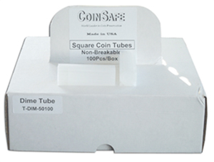COINSAFE SQUARE COIN TUBE: DIME (18MM)(HOLDS 50 COINS) BOX OF 100
