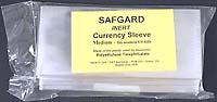 "SAFGARD CURRENCY SLEEVE: MEDIUM (6.5"" X 3"")-pkg of 50"