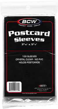 "BCW COVER SLEEVES -POST CARD (3-11/16"" X 5-3/4"" - 100 PER/PKG)"