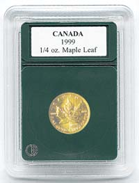 "CANADA 1/4OZ. GOLD MAPLE LEAF (.787""/20MM)(3 PACK): PREMIER COIN HOLDER"