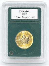 "CANADA 1/2OZ. GOLD MAPLE LEAF (.98""/24.9MM)(3 PACK): PREMIER COIN HOLDER"