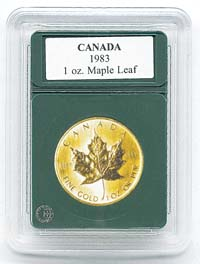 "CANADA 1OZ. GOLD MAPLE LEAF (1.18""/30.1MM)(3 PACK): PREMIER COIN HOLDER"