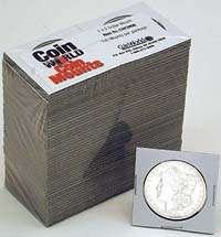 "COIN WORLD 2"" X 2"" SILVER DOLLAR MOUNT (CASE OF 5000)"