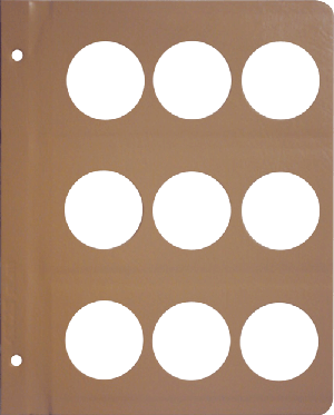 DANSCO: BLANK ALBUM PAGE WITH 9-43.25MM OPENINGS