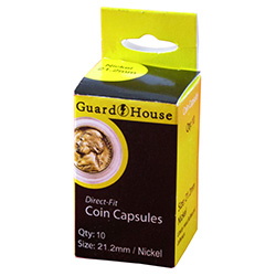 21MM DIRECT-FIT COIN CAPSULE- US NICKEL (BOX OF 10)