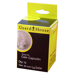 38.1MM DIRECT-FIT COIN CAPSULE- LARGE DOLLAR (BOX OF 10)