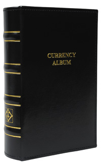 LIGHTHOUSE SMALL BLACK CURRENCY ALBUM  WITH 40 CLEAR POCKET PAGES