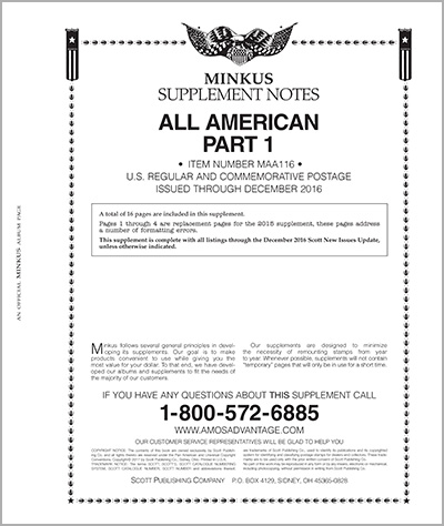 MINKUS: ALL-AMERICAN 2016 PT. 1  REG. & COMMEMS. (18 PAGES)