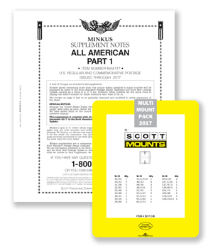 2017 Minkus All-American Pt. 1 Supplement + Stamp Mount Set - Clear