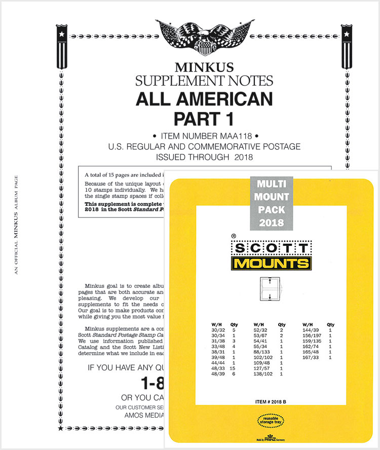 2018 Minkus All-American Pt. 1 Supplement + Stamp Mount Set - Black