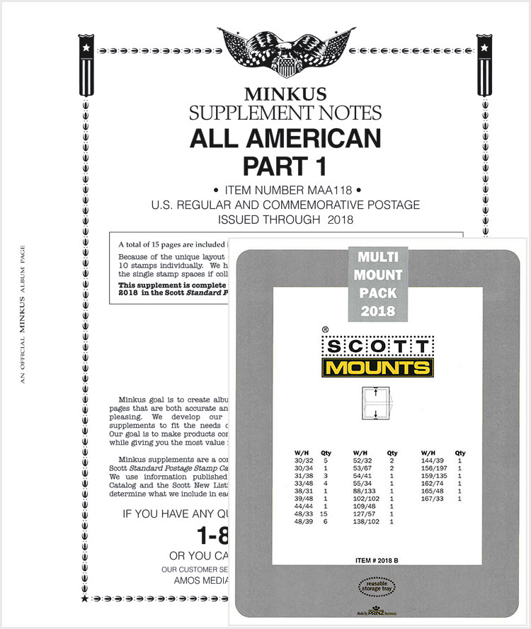 2018 Minkus All-American Pt. 1 Supplement + Stamp Mount Set - Clear