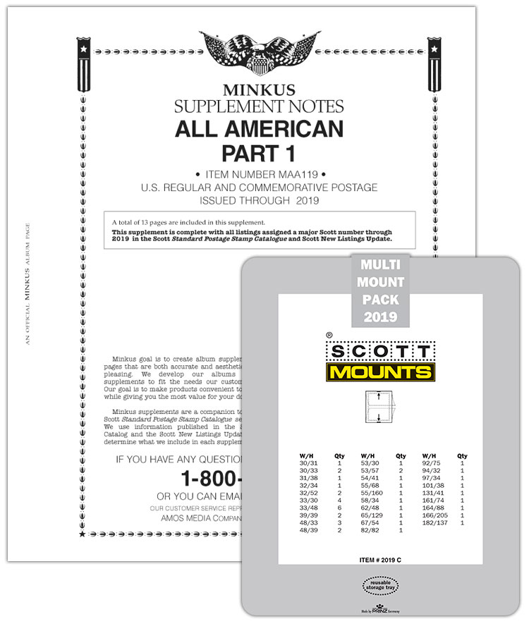 2019 Minkus All-American Pt. 1 Supplement + Stamp Mount Set - Clear
