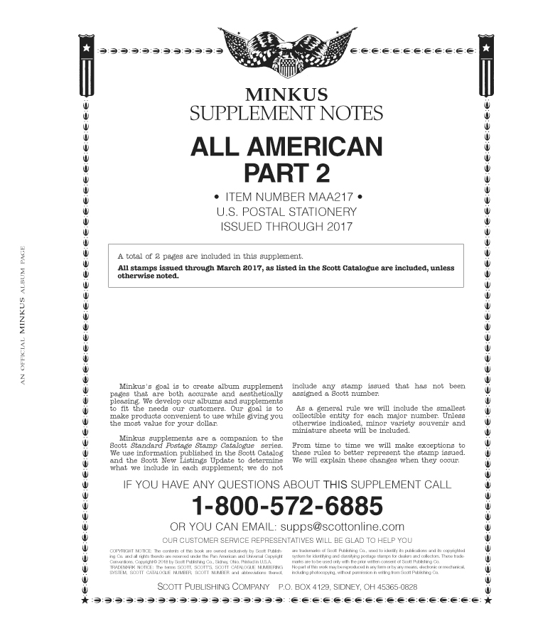 Minkus All-American Pt. 2: Postal Stationery 2017