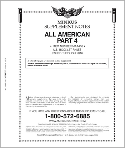 MINKUS: ALL-AMERICAN 2016 PT. 4  BOOKLET PANES (9 PAGES)