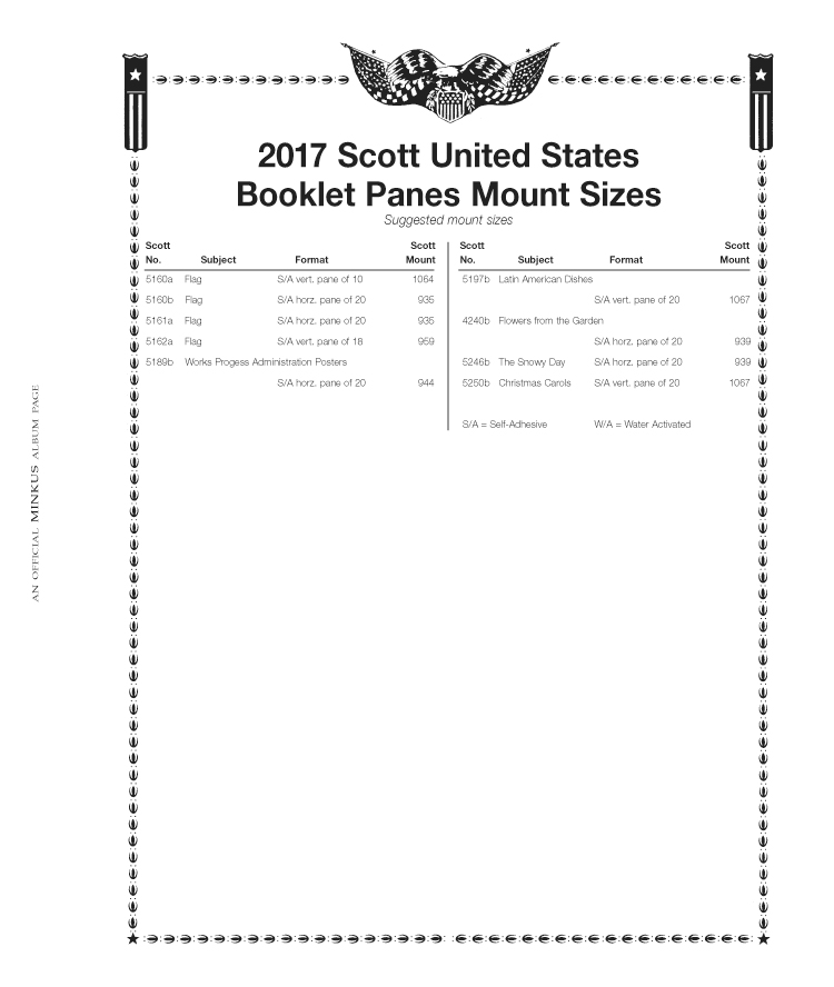 Minkus All-American Pt. 4: Booklet Panes 2017