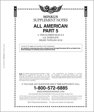MINKUS: ALL-AMERICAN 2016 PT. 5 SHEETLETS (17 PAGES)