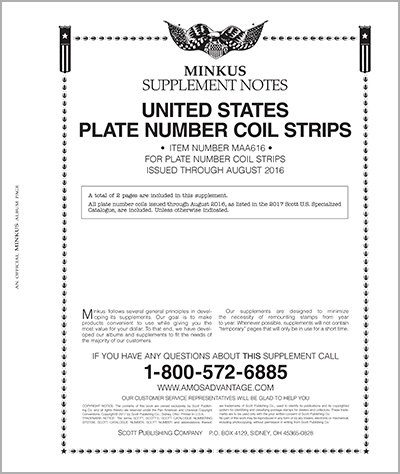 MINKUS: ALL-AMERICAN 2016 PT. 6  PLATE NO. COIL STRIPS (3 PAGES)