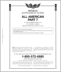 MINKUS: ALL-AMERICAN 2012 PT. 7 US POSTAL CARDS (12 PAGES)