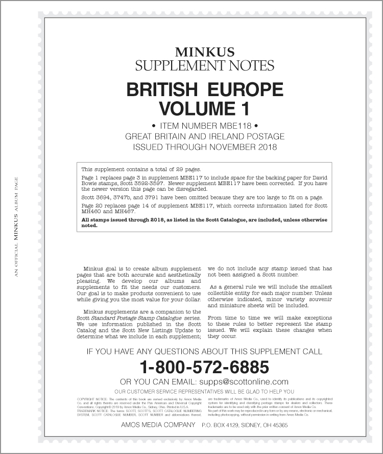 Minkus British Europe Vol. 1 2018