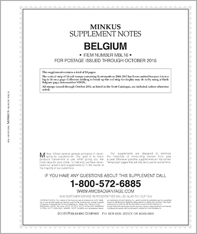 MINKUS: BELGIUM 2016 SUPPLEMENT (15 PAGES)