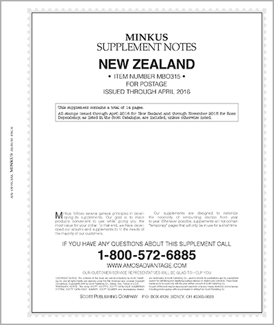 MINKUS: NEW ZEALAND 2015 SUPPLEMENT (15 PAGES)(BR. OCEANIA VOL. 3)