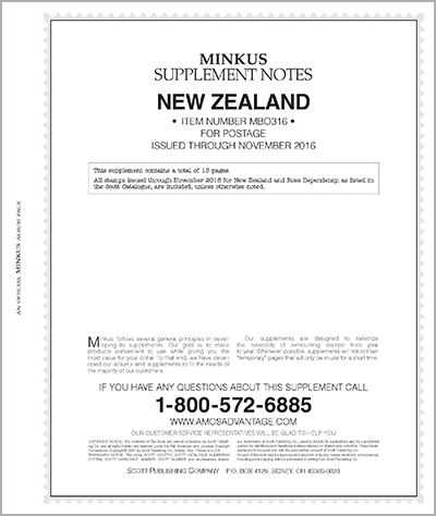 MINKUS: NEW ZEALAND 2016 SUPPLEMENT (BR. OCEANIA VOL. 3) (16 PAGES)