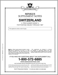 MINKUS: SWITZERLAND 1987 SUPPLEMENT (6 PAGES)