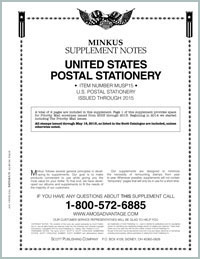 MINKUS: US POSTAL STATIONERY 2015 SUPPLEMENT (3 PAGES)