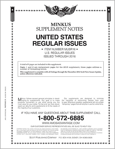 MINKUS: US REGULAR ISSUES 2016 (10 PAGES)