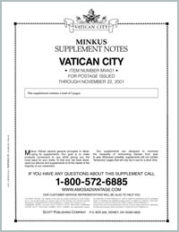 MINKUS: VATICAN CITY 2001 SUPPLEMENT (6 PAGES)