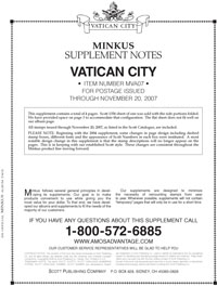MINKUS: VATICAN CITY 2007 SUPPLEMENT (5 PAGES)