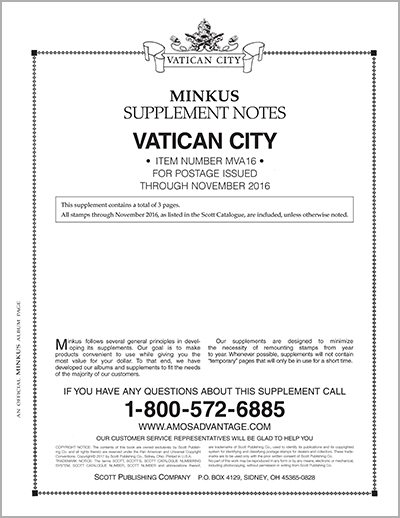 MINKUS: VATICAN CITY 2016 SUPPLEMENT (4 PAGES)