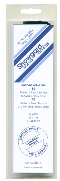 US STRIP SIZES 22-52 (50 BLACK MOUNTS)