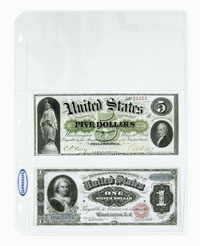 SUPERSAFE 3 POCKET CURRENCY BILL PAGE -ARCHIVAL QUALITY (US LARGE SIZE NOTES)