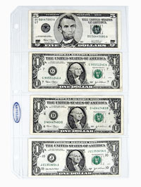 SUPERSAFE 4 POCKET CURRENCY BILL PAGE - ARCHIVAL QUALITY (US SMALL SIZE NOTES)
