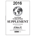 2016 HE HARRIS MASTER WORLDWIDE SUPPLEMENT