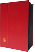 Lighthouse Stockbook with 64 Black Pages - Red