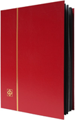 Lighthouse Stockbook with 16 Black Pages - Red